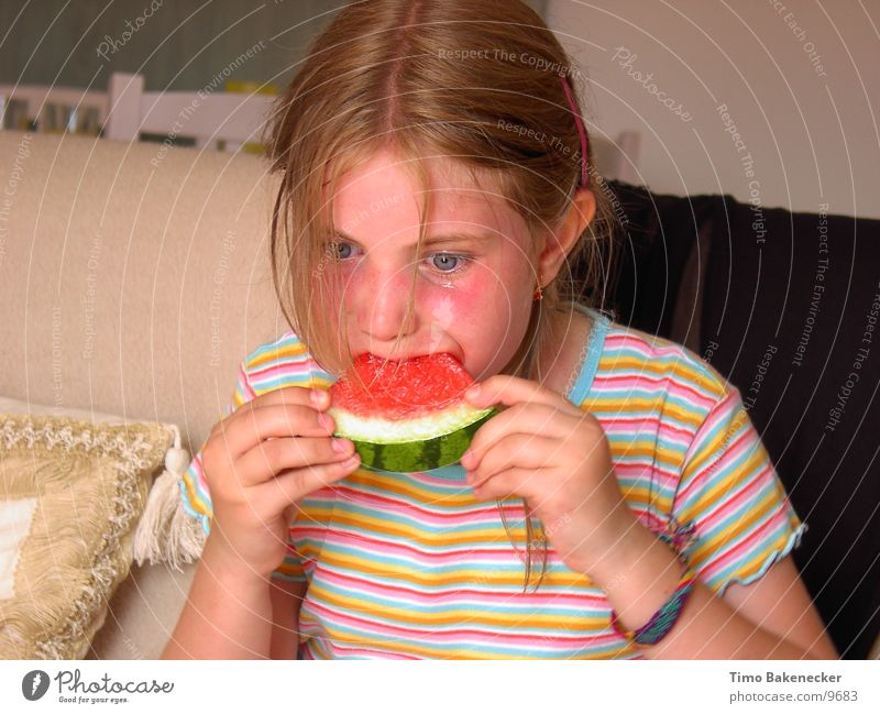 Human being Child Nature Girl Nutrition Life Food Fatigue Fruit Tears Water melon