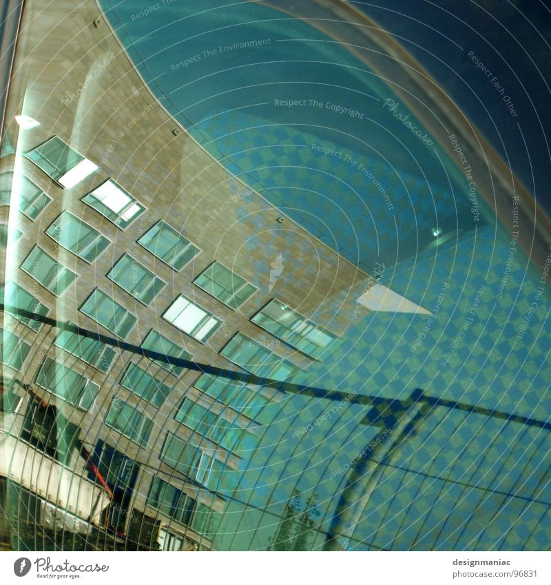 Sky Blue House (Residential Structure) Window Planning High-rise Crazy Industry Future Clarity Fantastic Fence Curve Transparent Beautiful weather Barrier