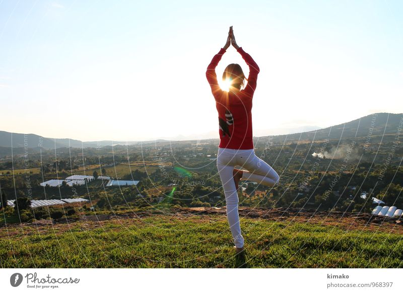 on the top Lifestyle Beautiful Body Healthy Wellness Relaxation Calm Meditation Freedom Mountain Yoga Feminine Young woman Youth (Young adults) 1 Human being