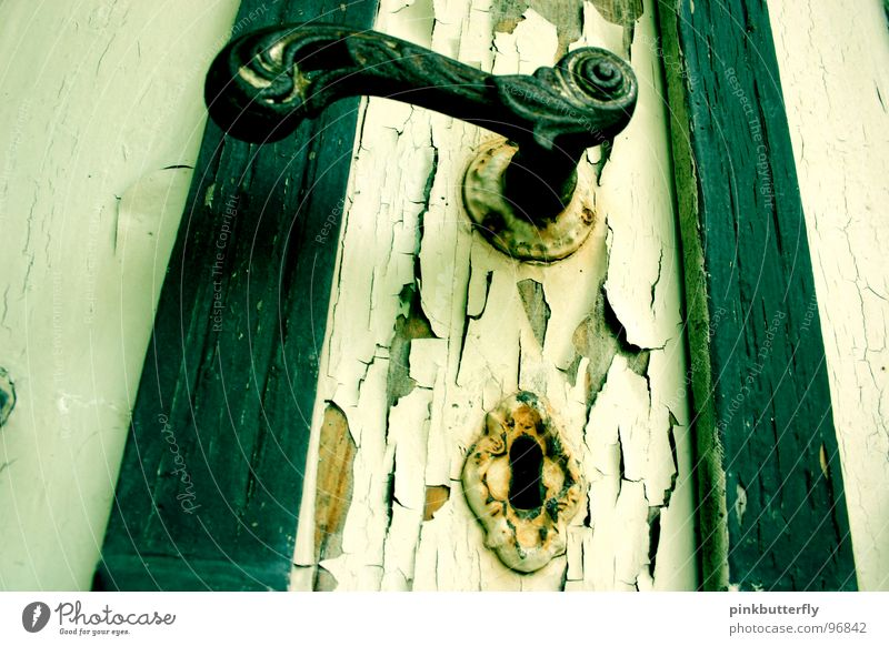 keyochecker Keyhole Old building Door handle Ruin Dirty Green White Mysterious Exterior shot Derelict Transience Obscure flayed Colour Blue Loneliness