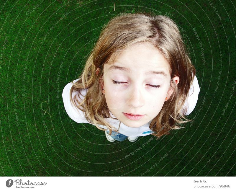Child Youth (Young adults) Green White Girl Face Meadow Emotions Hair and hairstyles Contentment Blonde Closed Wait Perspective Lawn Fatigue