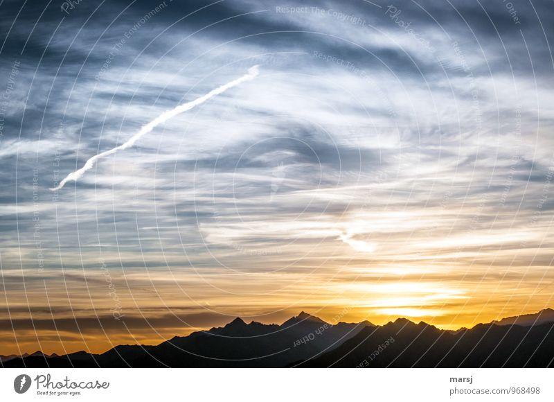 Sky Nature Summer Landscape Clouds Mountain Autumn Exceptional Weather Aviation Beautiful weather Peak Infinity Alps Vapor trail Cloud field