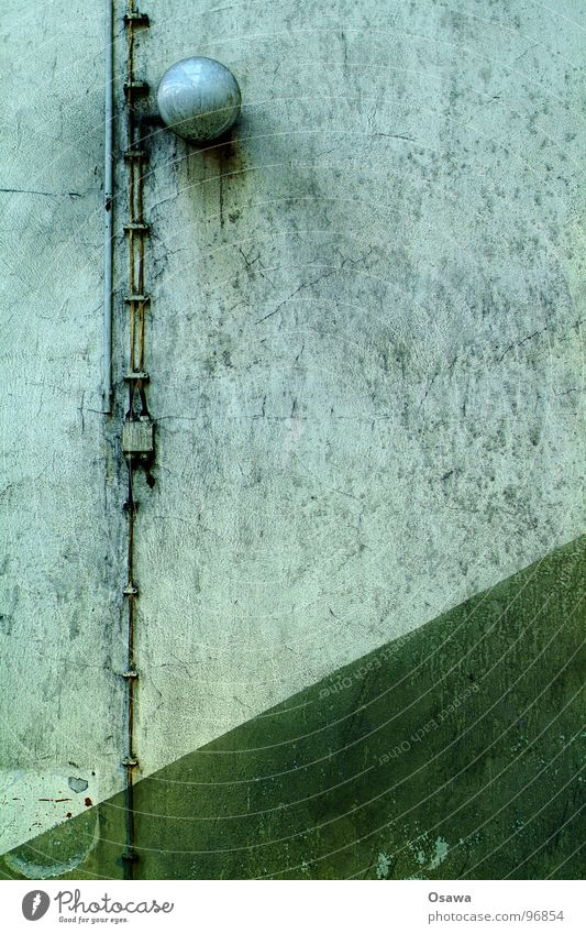 Old Green Loneliness Lamp Wall (building) Dirty Industrial Photography Cable Factory Derelict GDR Diagonal Work of art Run-down
