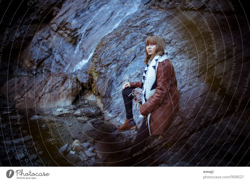 It's cold outside Feminine Young woman Youth (Young adults) 1 Human being 18 - 30 years Adults Environment Nature Landscape Autumn Bad weather Rock Dark