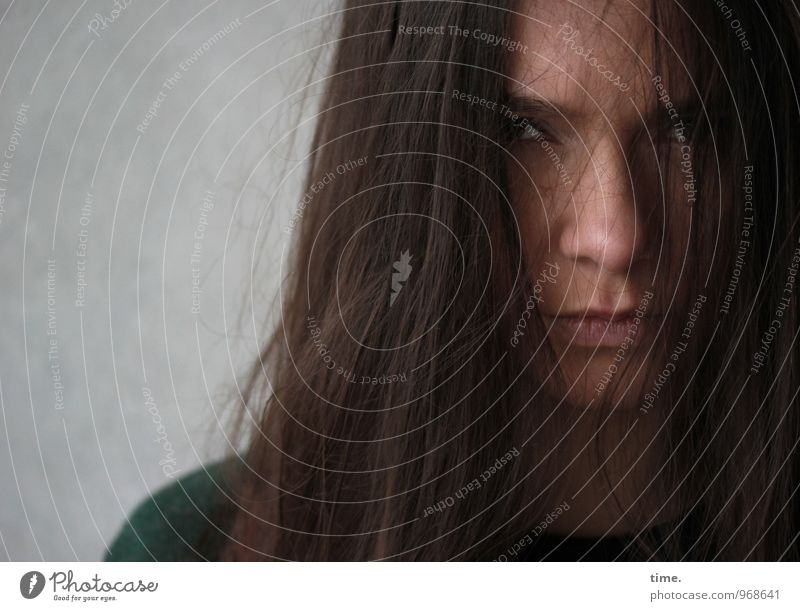Yana Feminine Young woman Youth (Young adults) 1 Human being Brunette Long-haired Observe Wait Threat Dark Disappointment Mistrust Envy Anger Aggravation
