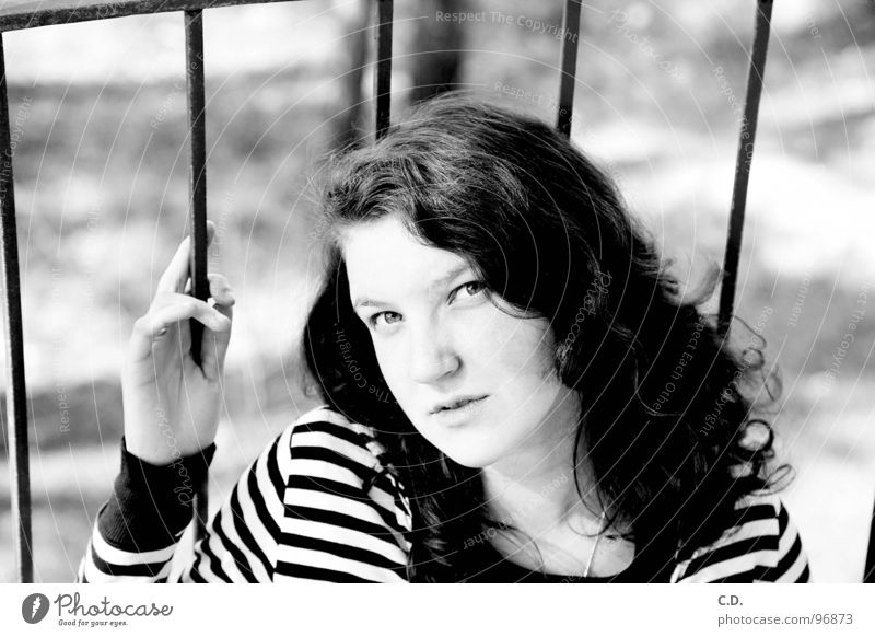Woman Nature Youth (Young adults) Hand White Black Face Eyes Emotions Think Balcony Curl Striped Grating April Rostock