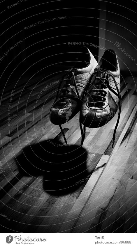 winged Footwear Sneakers Wooden floor Plank Parquet floor Laminate Shoelace Drop shadow Black White Gray Magic Curse Ghosts & Spectres  Creepy Room Mysterious