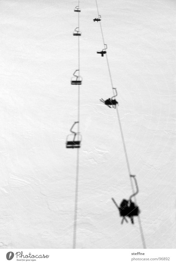 chair lift Chair lift Skiing White Black Cold Austria Thrill Action Après ski Winter Cable car Black & white photo Snow Tall Stubaital Joy Shadow