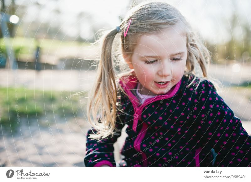 That Girl Human being Feminine Child Toddler Infancy 1 1 - 3 years 3 - 8 years Garden Spotted Pink Long-haired Braids Playground Colour photo Exterior shot