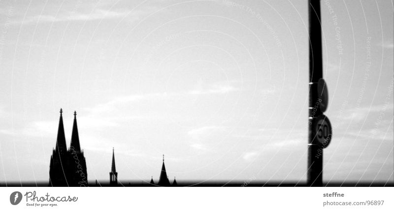Cologne Views Cologne Cathedral Black White 50 Severins bridge Panorama (View) Clouds House of worship Germany Dome Silhouette St-Martin Point Sky Large