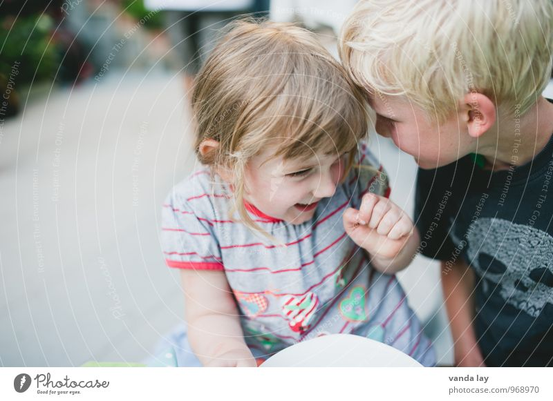 Human being Child Girl Boy (child) Laughter Friendship Together Infancy Communicate Group of children Curiosity Mysterious Team Teamwork Brother