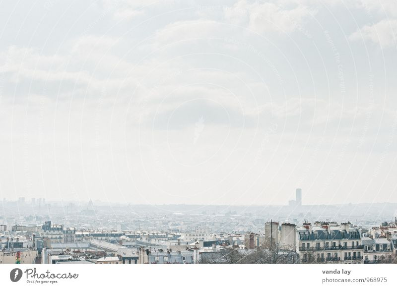Paris Sky Montmartre France Town Capital city Downtown Old town House (Residential Structure) High-rise Infinity Colour photo Exterior shot Deserted