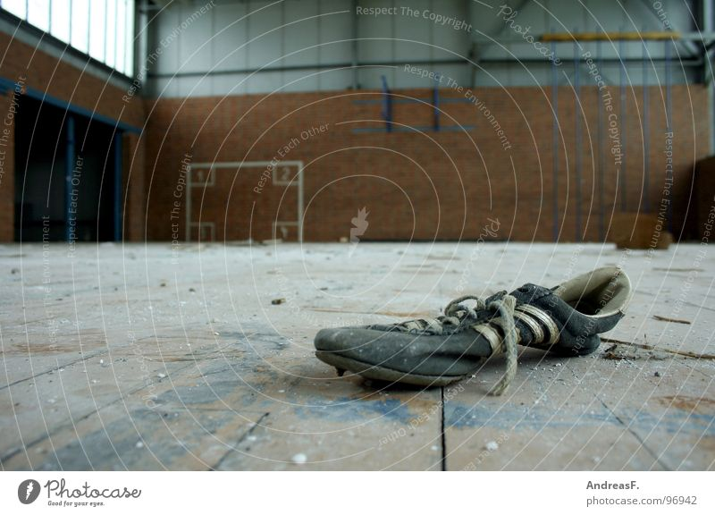 Loneliness Sports Wood Footwear Dirty Floor covering School building Derelict Ruin Sneakers Warehouse Hallway Gymnastics Dust Parquet floor Practice