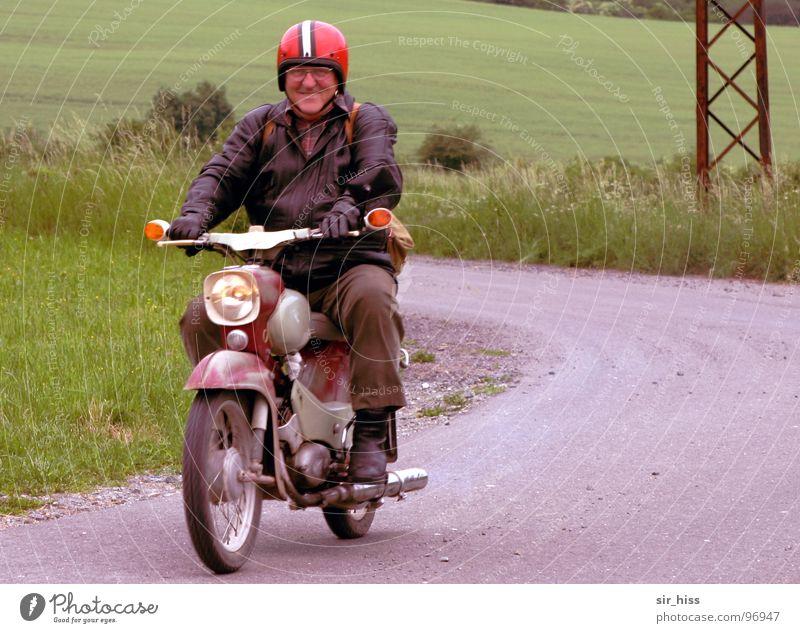 Man Motorcycle Transport GDR Curve Scooter Helmet Seventies Bratwurst Spokes Thuringia Nostalgia for former East Germany Leather jacket