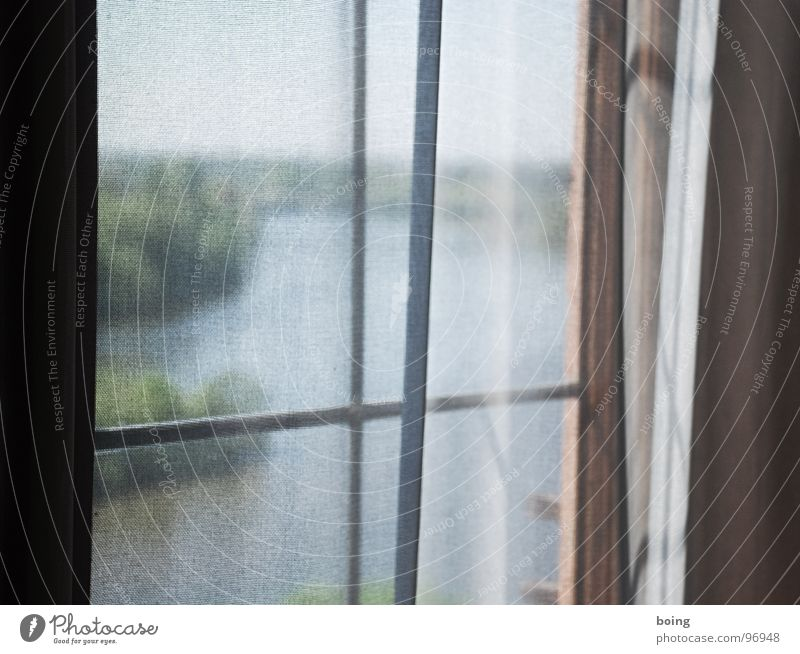 Window Air Electricity Cloth Transience River Vantage point Wrinkles Longing River bank Drape Transparent Wanderlust Curtain Captured Main