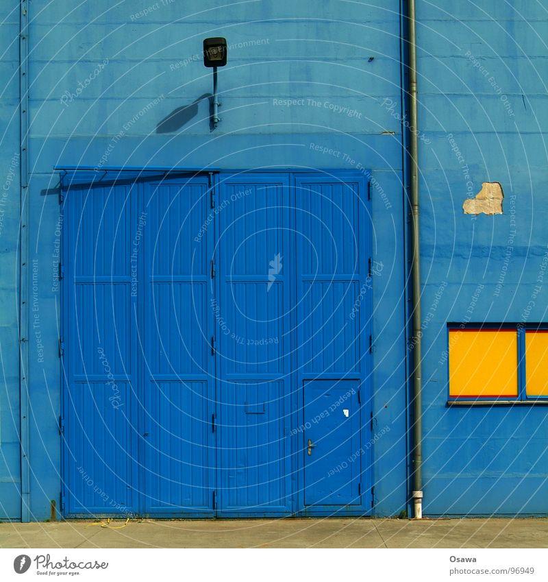 Blue Yellow Wall (building) Window Door Industry Gate Lantern Street lighting