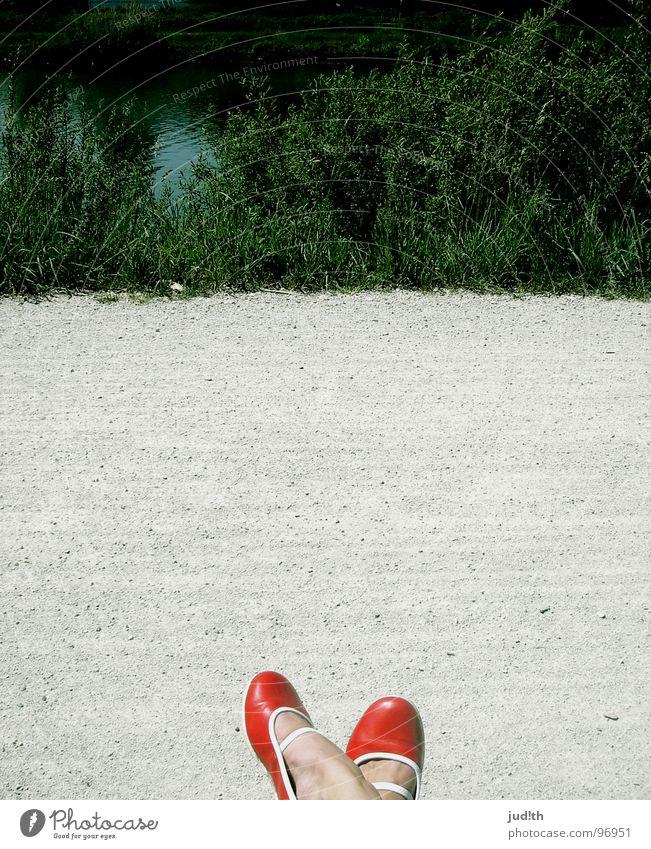 Woman Nature Water Beautiful Green Red Calm Street Grass Stone Feet Lanes & trails Footwear Hiking Walking Break