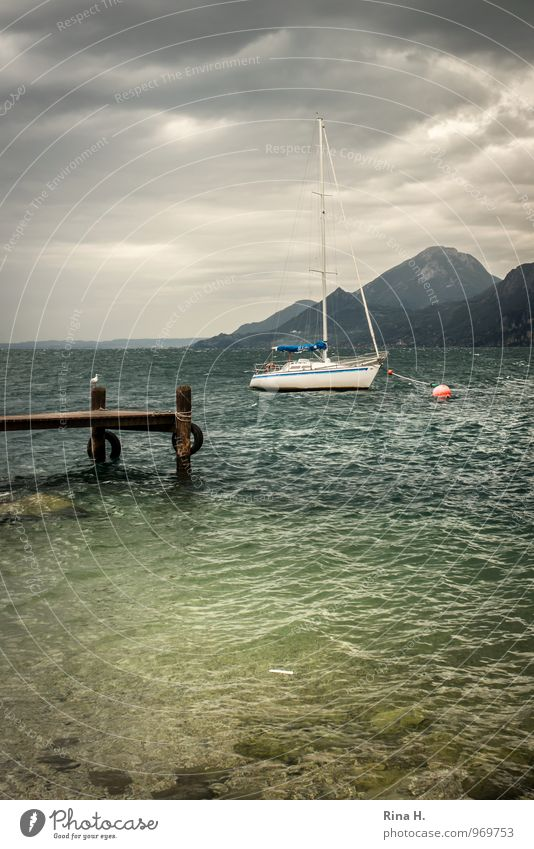 Nature Summer Landscape Clouds Dark Mountain Lake Horizon Wind Sit Italy Storm Footbridge Gale Seagull Jetty