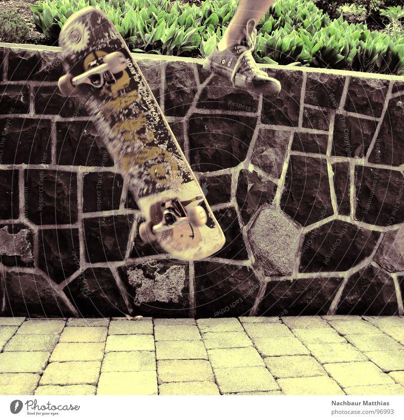 up and away Skateboarding Footwear Wall (barrier) Mosaic Hardflip Exceptional Joy Colour Funsport Feet Chucks Part Cobblestones Flying Crazy Garden