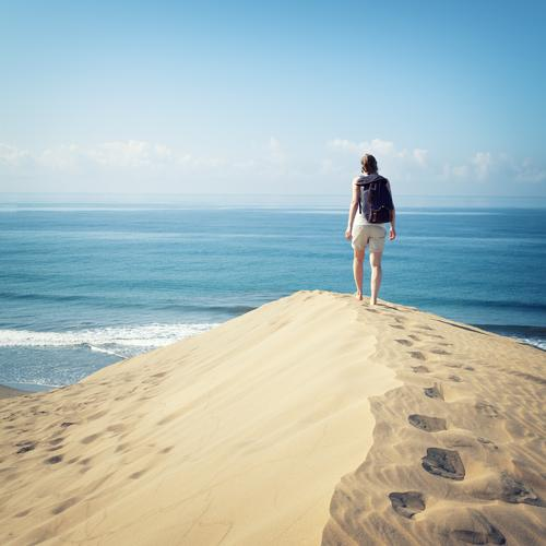 Vacation & Travel Water Sun Ocean Loneliness Feminine Lanes & trails Happy Freedom Hiking Happiness Vantage point Joie de vivre (Vitality) Target Desert