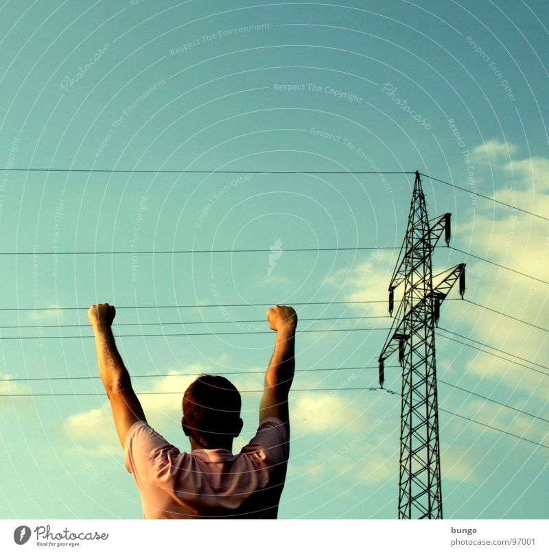 Man Hand Sky Clouds Head Arm Energy industry Electricity Dangerous Cable Catch Touch To hold on Hang Electricity pylon Warning label