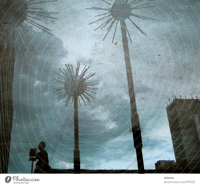 Water Sky Blue Building Metal Wet High-rise Crazy Modern Dresden Sphere Well Sculpture Landmark Surrealism Puddle