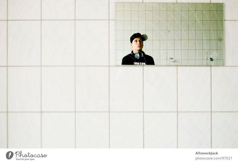 Human being Man White Black Line Bright Masculine T-shirt Clean Bathroom Mirror Tile Cap Geometry Eerie Mirror image