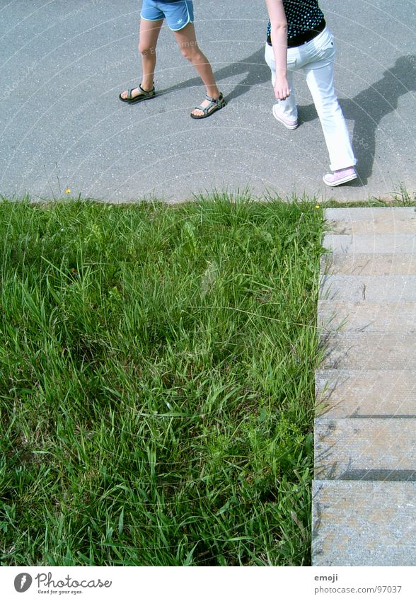 Woman Human being Nature Youth (Young adults) Green Summer Grass Spring Feet Legs 2 Going Walking Running Stairs Lawn