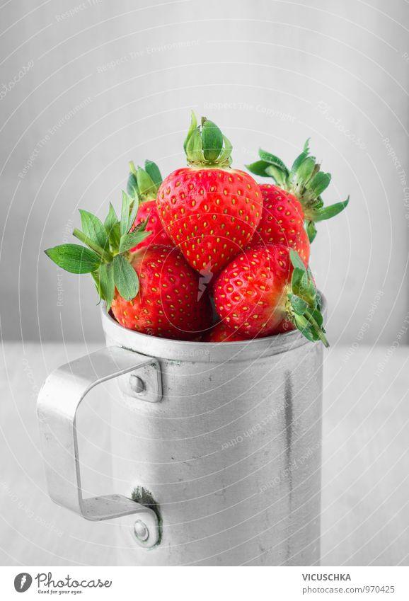 Strawberries in tin cup Food Fruit Dessert Nutrition Breakfast Organic produce Vegetarian diet Diet Cup Style Design Strawberry Tin Aluminium Old Retro Garden