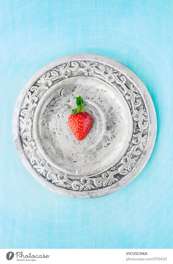 Half strawberry on silver plate and blue background Food Fruit Dessert Nutrition Organic produce Vegetarian diet Diet Plate Style Design Leisure and hobbies
