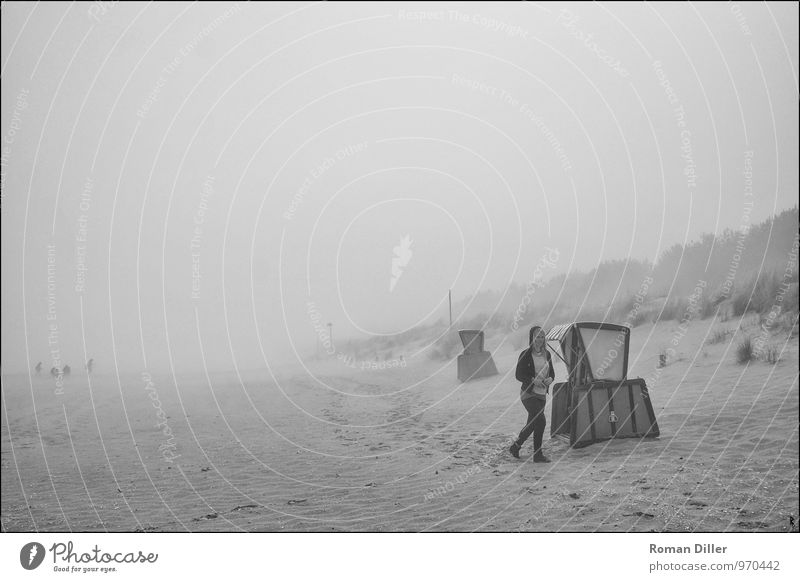 fog Landscape Sand Fog Beach Baltic Sea Island Authentic Positive Longing Wanderlust Loneliness Usedom karlshagen Beach chair Beach dune Black & white photo