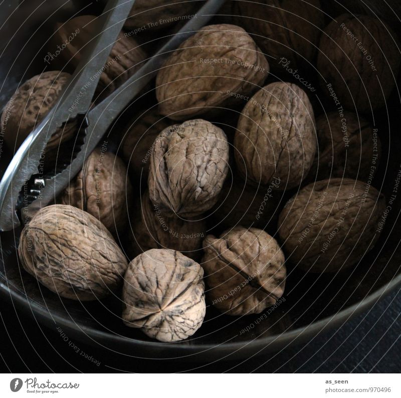 nuts Food Walnut Nut Nutrition Eating Slow food Nutcrackers Wellness Harmonious Calm Winter Kitchen Christmas & Advent Plant Autumn Wood Metal Nutshell Esthetic