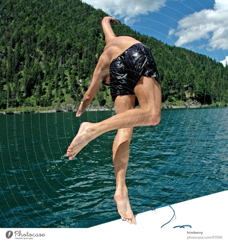 Man Hand Water Sports Jump Playing Mountain Lake Watercraft Swimming pool Dive Swimming & Bathing Austria Refreshment Sailboat Headfirst dive