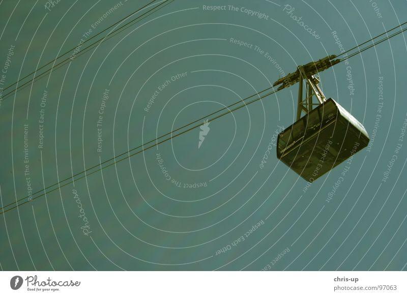 Sky Blue Rope Diagonal Steel cable Turquoise Upward Passenger traffic Gondola Cable car Skyward