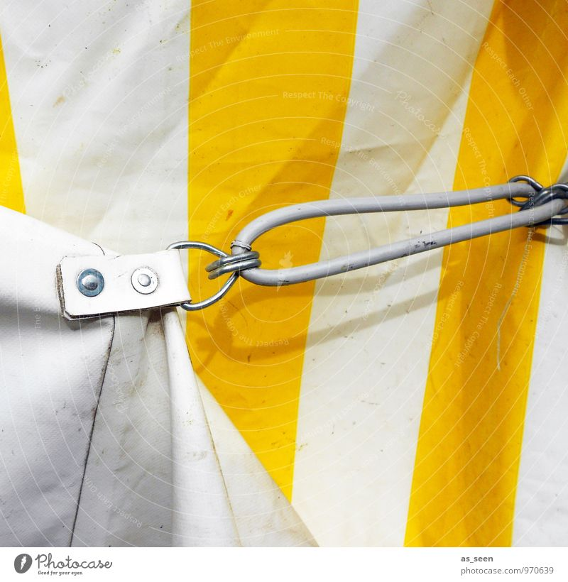 tent camp Fairs & Carnivals Circus Event Shows Tent Tarpaulin Tent door Tent camp Checkmark Eyelet Metal Plastic Authentic Firm Bright Strong Yellow White