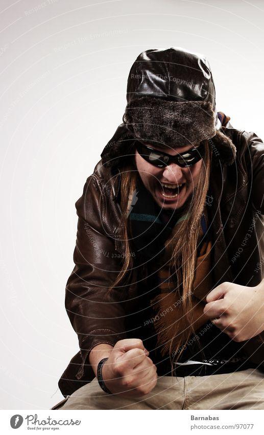 Man Airplane Hat Leather Sunglasses Scarf Pilot Fist Baseball cap Crash landing Kamikaze pilot