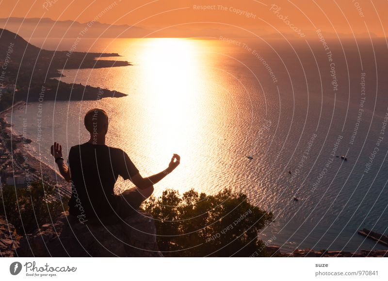 Human being Vacation & Travel Youth (Young adults) Man Relaxation Ocean Calm Young man Adults Lifestyle Masculine Contentment Idyll Tourism Sit Culture