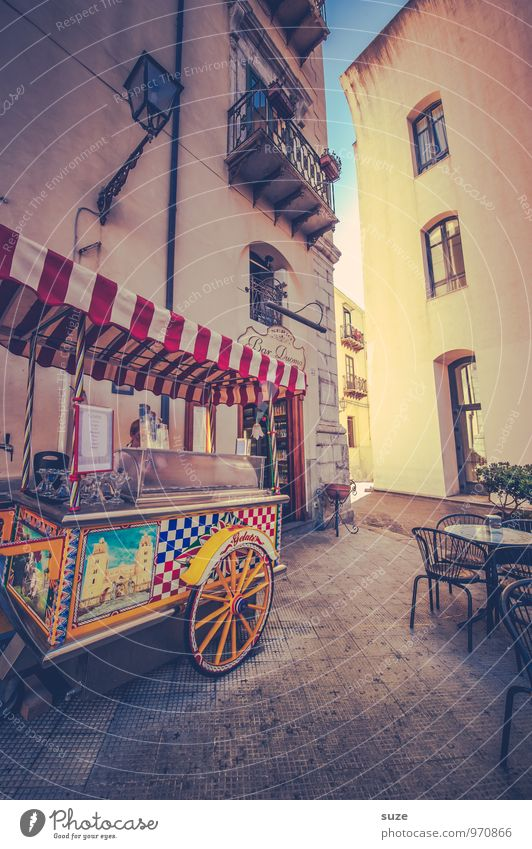 Vacation & Travel City Street Travel photography Building Facade Decoration Tourism Authentic Places Ice cream Italy Culture Past Café Tradition