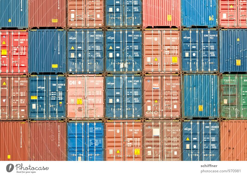 Belgian Tetris Navigation Container ship Blue Brown Red accurate Direct Arrangement Orderliness Square Rectangle Container terminal Container cargo Logistics
