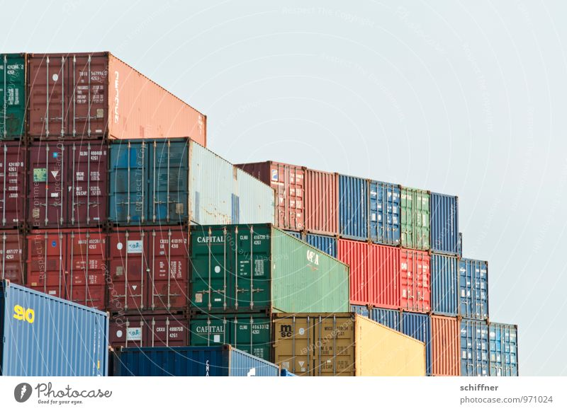 Blue Brown Logistics Many Harbour Navigation Trade Stack Container Economic crisis Container ship Container terminal Stock of merchandise Economic growth