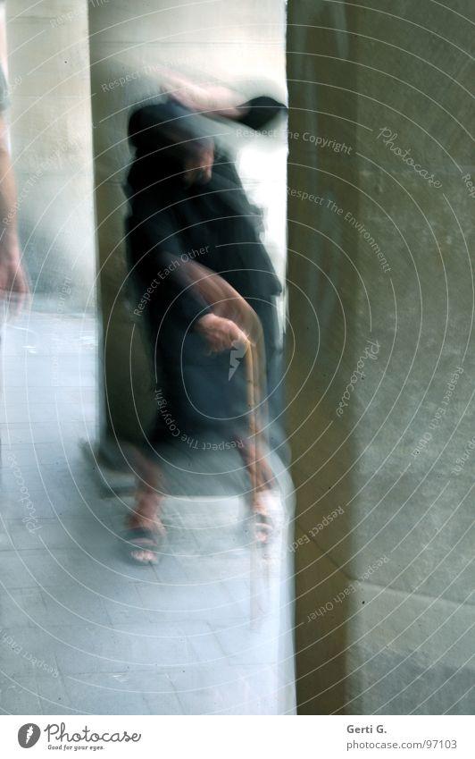 Woman Human being Senior citizen Black Dark Movement Fear Dangerous Threat Stick Column Panic Pole Eerie Motion blur Costume