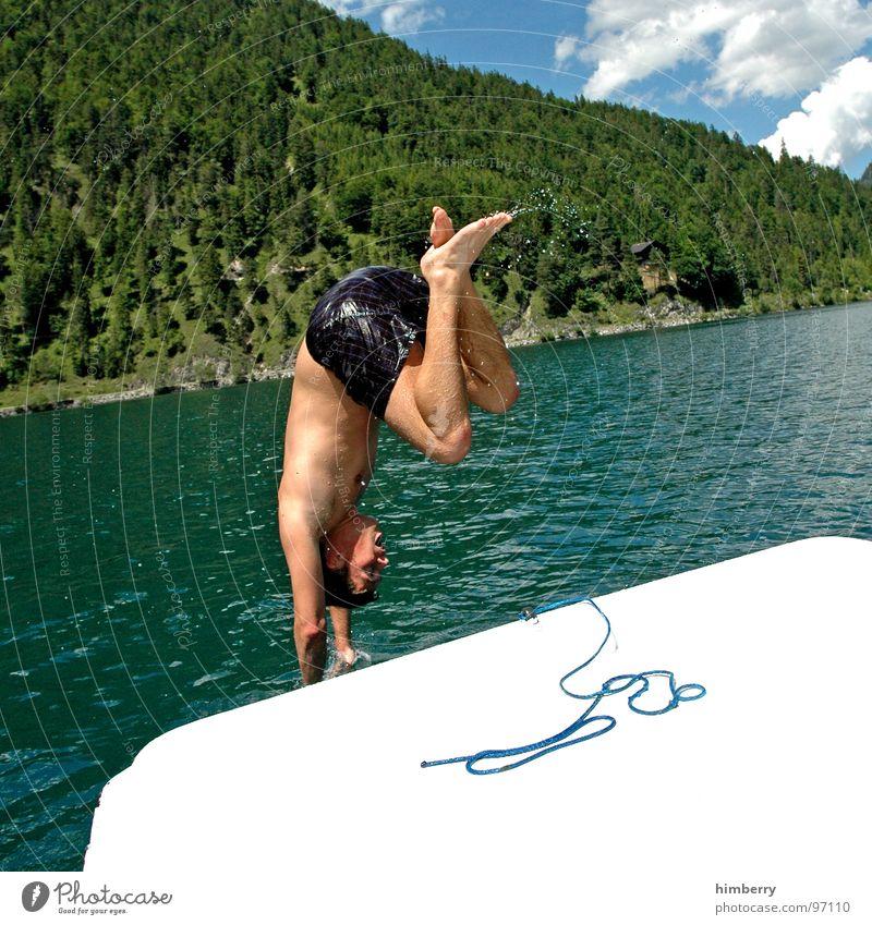 Man Hand Water Summer Sports Jump Playing Mountain Lake Watercraft Swimming pool Dive Swimming & Bathing Austria Refreshment Sailboat