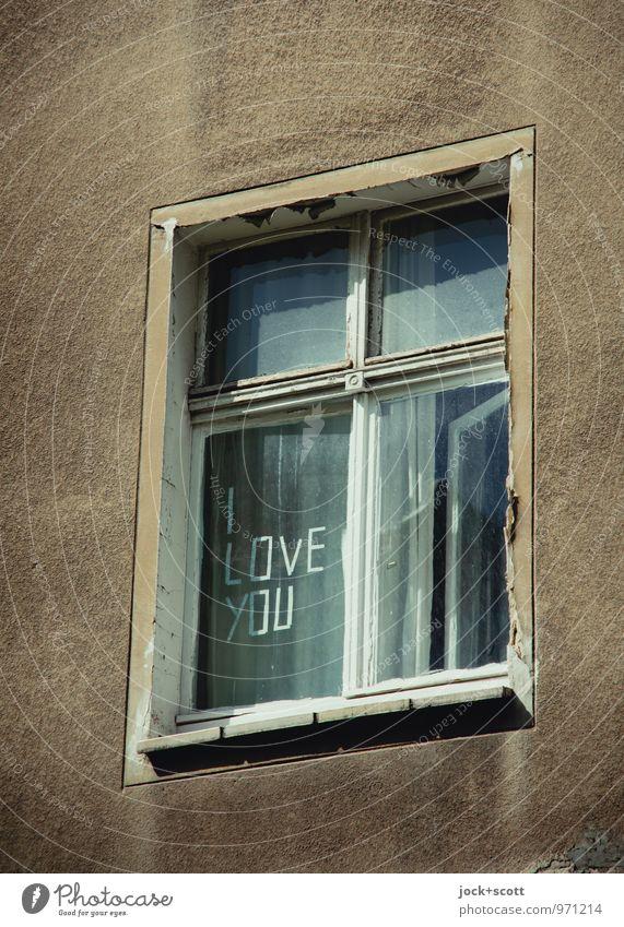 I love you too! on weathered window Typography Friedrichshain Facade Window Word Love Uniqueness Positive Retro Gloomy Gray Infatuation Romance English