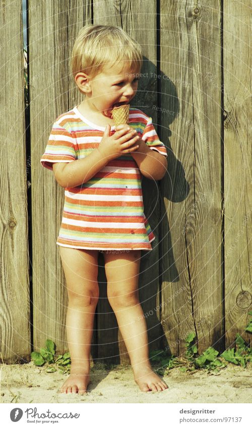 Child Girl Cold Nutrition Eating Ice T-shirt Teeth Hot Delicious Striped Lick