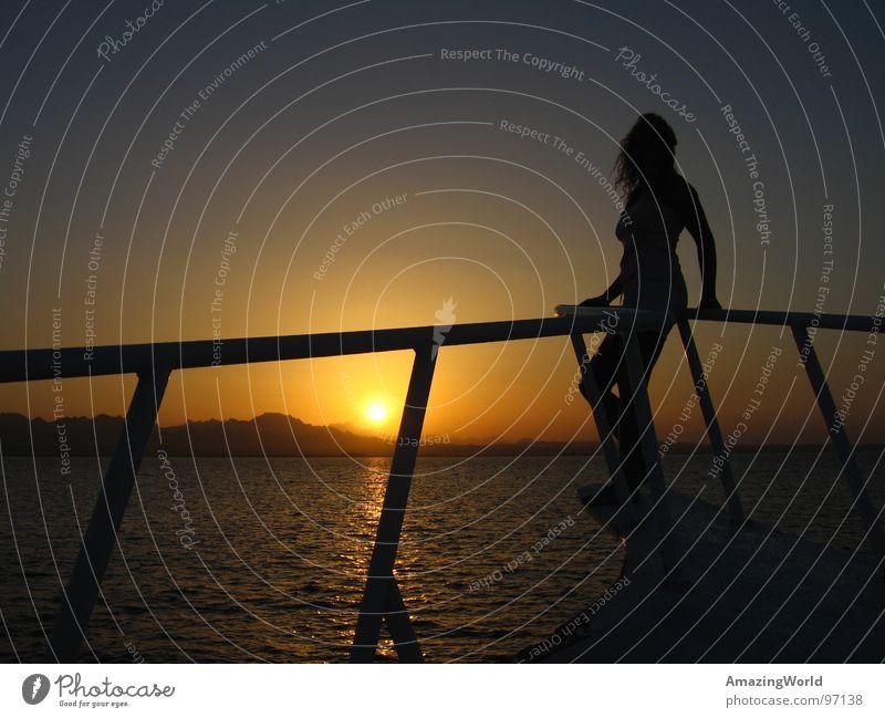 Woman Water Sun Ocean Summer Watercraft Romance Longing Dusk Egypt Celestial bodies and the universe Sunset Red Sea Safaga