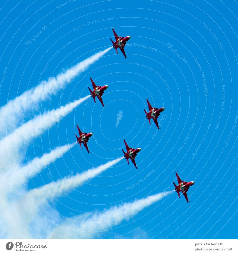 Sky Blue Clouds Freedom Airplane Aviation Smoke Concentrate Tails Military aircraft Jet Formation Jet fighter Formation flying