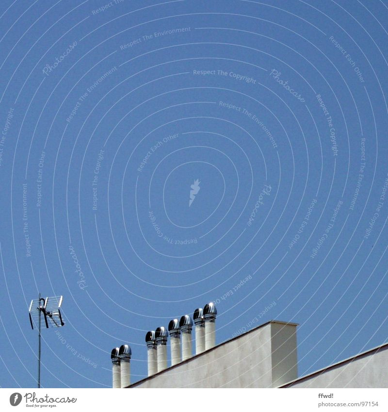 unknown roof objects Antenna Wall (barrier) Roof Ventilation Obscure Modern Electrical equipment Technology Sky Blue roof installation ventilation system space
