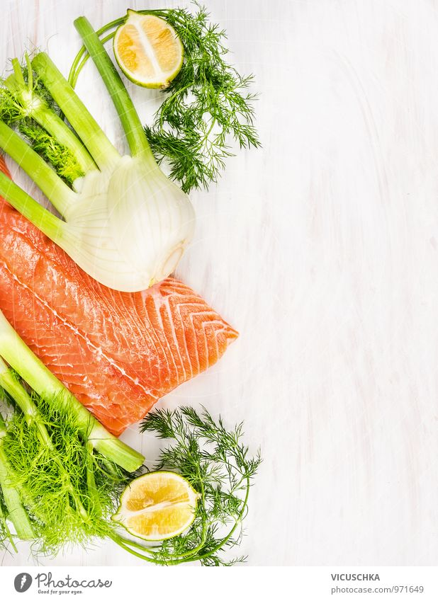 Raw salmon fillet with green herbs and lemon Food Fish Vegetable Herbs and spices Nutrition Lunch Organic produce Vegetarian diet Diet Style Design Kitchen
