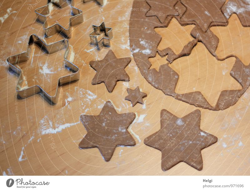 Christmas baked goods... Food Dough Baked goods Candy Gingerbread Cookie Flour Nutrition Star (Symbol) Metal Ornament Lie Esthetic Fragrance Fresh Uniqueness