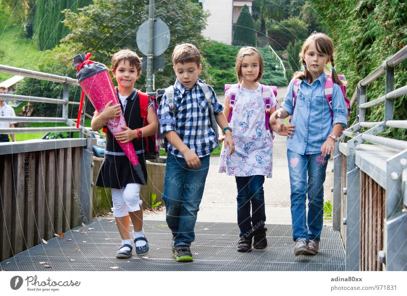 schoolchildren Parenting Education School Study Schoolchild Student Child Brothers and sisters Friendship 4 Human being Walking Together Self-confident Optimism